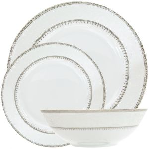 Traditionally Designed White and Grey Floral 12-Piece Ceramic Dinner Set