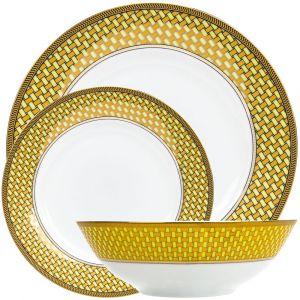 Traditional and Unique Golden Lattice Designed 12-Piece Ceramic Dinner Set