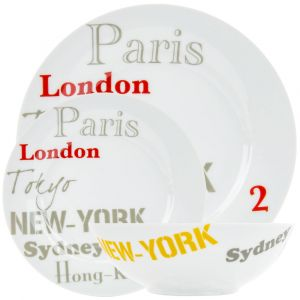 Modern London, Paris, Tokyo, Sydney and Hong Kong 12-Piece Ceramic Dinner Set