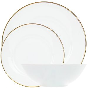 Traditional and Classic Gold Plated Trim 12-Piece White Ceramic Dinner Set
