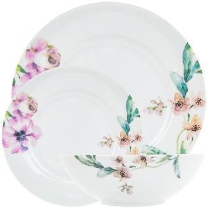 Traditional Floral Ceramic 12-Piece Dinner Set with Green Leaf Decoration
