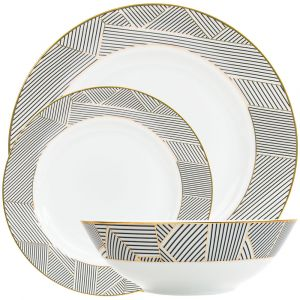 Contemporary Black Striped and Gold Plated 12-Piece Ceramic Dinner Set