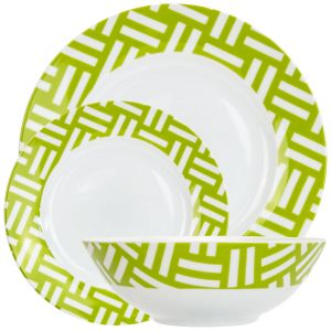 Modern and Trendy Green and White Gloss Ceramic 12-Piece Dinner Set