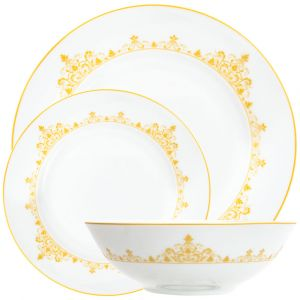 Intricately Designed Gold Floral Ceramic 12-Piece Dinner Set with Border Trims
