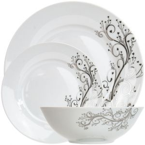 Beautiful 12-Piece Dinner Set with Shiny Silver Floral Design with Hearts