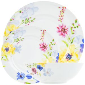 Bright and Vibrant Multi Floral Watercolor 12-Piece Ceramic Dinner Set