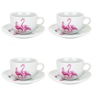 Contemporary Set of 4 Pink Flamingo Themed Cups and Saucers