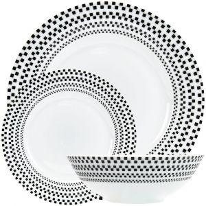 Modern Mini Black Squares Geometric 12-Piece White Ceramic Dinner Set