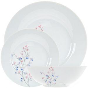 Delicately Designed Pink Grey and Blue Floral 12-Piece Ceramic Dinner Set