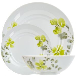 Traditional and Classic Green Floral Print 12-Piece Ceramic Dinner Set