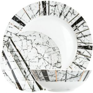 Modern and Unique Black and Grey Marble Effect Dinner Set with Gold Foil Trim