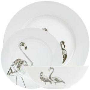 Beautiful Grey Flamingo Designed White Gloss 12-Piece Ceramic Dinner Set