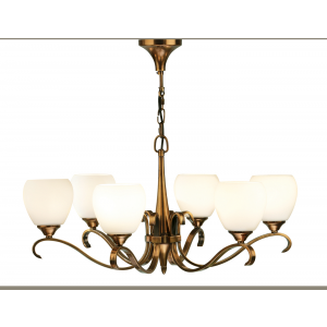 Pendant Light - Antique brass finish & matt opal glass