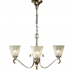 Pendant Light - Polished nickel plate & clear glass with frosted inner