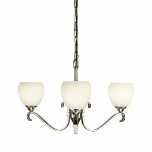 Pendant Light - Polished nickel plate & matt opal glass