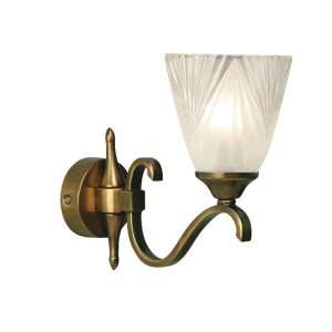 Wall Light - Antique brass finish & clear glass with frosted inner