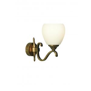 Wall Light - Antique brass finish & matt opal glass