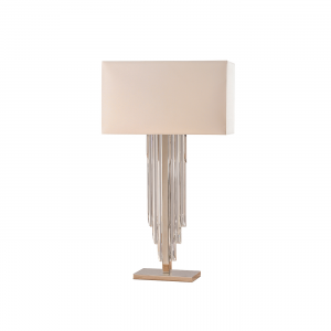 Table Light - Clear crystal (k9) glass detail & off white faux silk