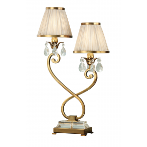 Table Light - Antique brass finish & lead crystal beads