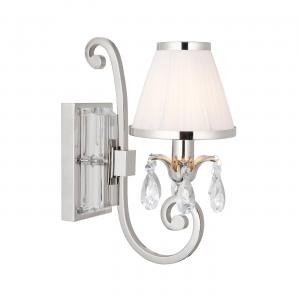 Wall Light - Polished nickel plate & lead crystal beads