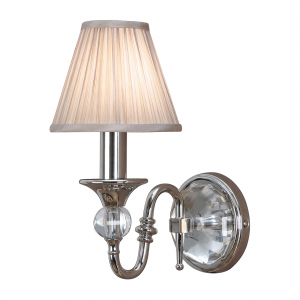 Wall Light - Polished nickel plate & beige organza effect fabric