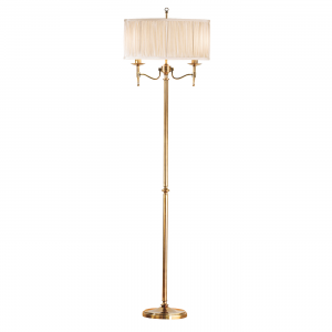 Floor Light - Antique brass finish & beige organza effect fabric