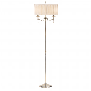 Floor Light - Polished nickel plate & beige organza effect fabric