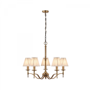Pendant Light - Antique brass finish & beige organza effect fabric