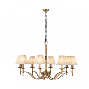 Pendant Light - Antique brass finish & beige organza effect fabric