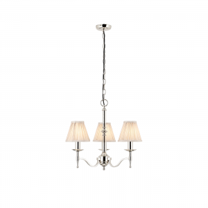 Pendant Light - Polished nickel plate & beige organza effect fabric
