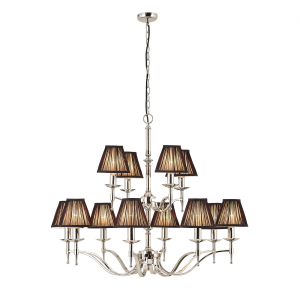 Pendant Light - Polished nickel plate & black organza effect fabric