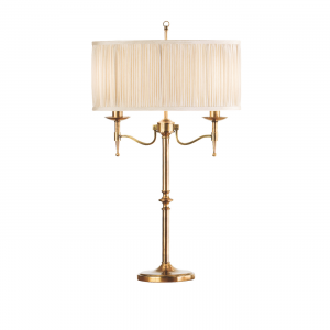 Table Light - Antique brass finish & beige organza effect fabric