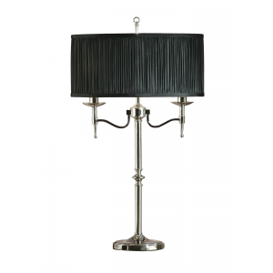 Table Light - Polished nickel plate & black organza effect fabric