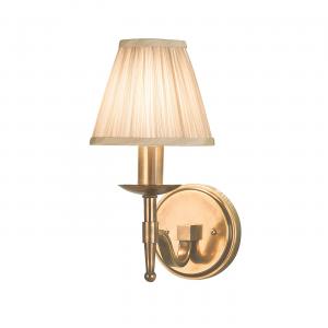 Wall Light - Antique brass finish & beige organza effect fabric