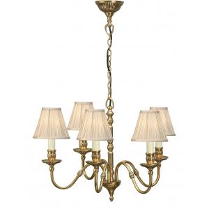 Pendant Light - Solid mellow brass & beige organza effect fabric