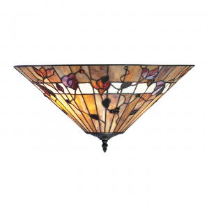 Flush Light - Tiffany style glass & dark bronze paint with highlights