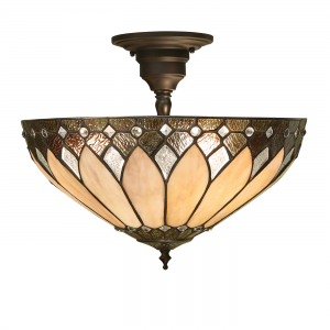 Semi flush Light - Tiffany style glass & dark bronze paint with highlights