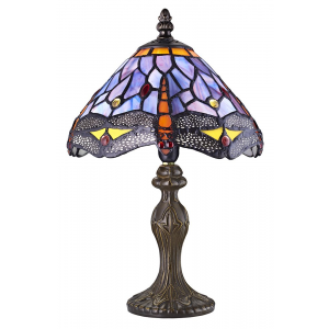 Hand Crafted Purple Stained Glass Dragonfly Tiffany Lamp