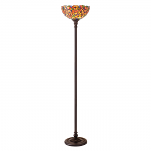 Floor Light - Tiffany style glass & dark bronze paint with highlights
