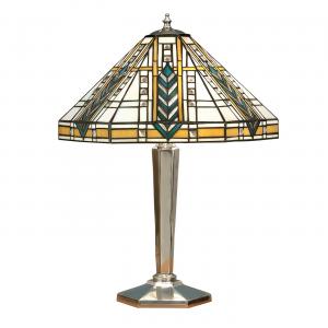 Table Light - Tiffany style glass & polished aluminium