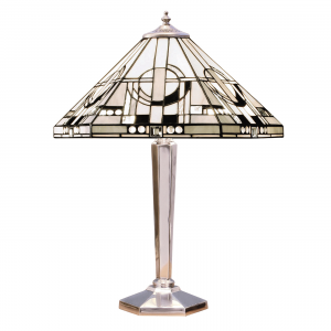 Table Light - Tiffany style glass & polished aluminium