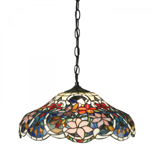 Pendant Light - Tiffany style glass & dark bronze paint with highlights