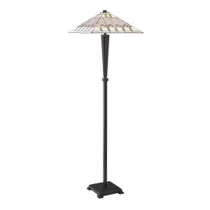 Floor Light - Tiffany style glass & dark bronze paint with highlights
