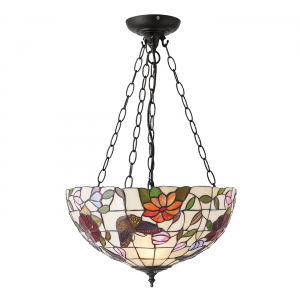 Pendant Light - Tiffany art glass & dark bronze paint with highlights