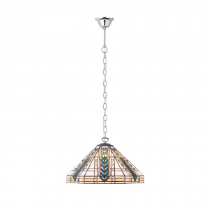 Pendant Light - Tiffany style glass & chrome effect plate