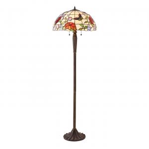 Floor Light - Tiffany art glass & dark bronze paint with highlights