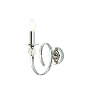 Wall Light - Polished nickel plate & clear crystal