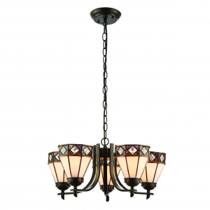 Pendant Light - Dark bronze paint with highlights & tiffany style glass