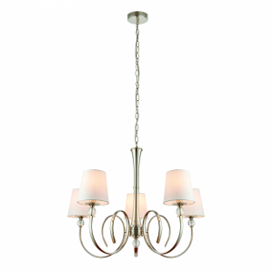 Pendant Light - Polished nickel plate & vintage white silk