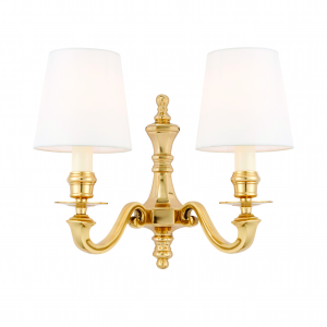 Wall Light - Solid brass & vintage white silk